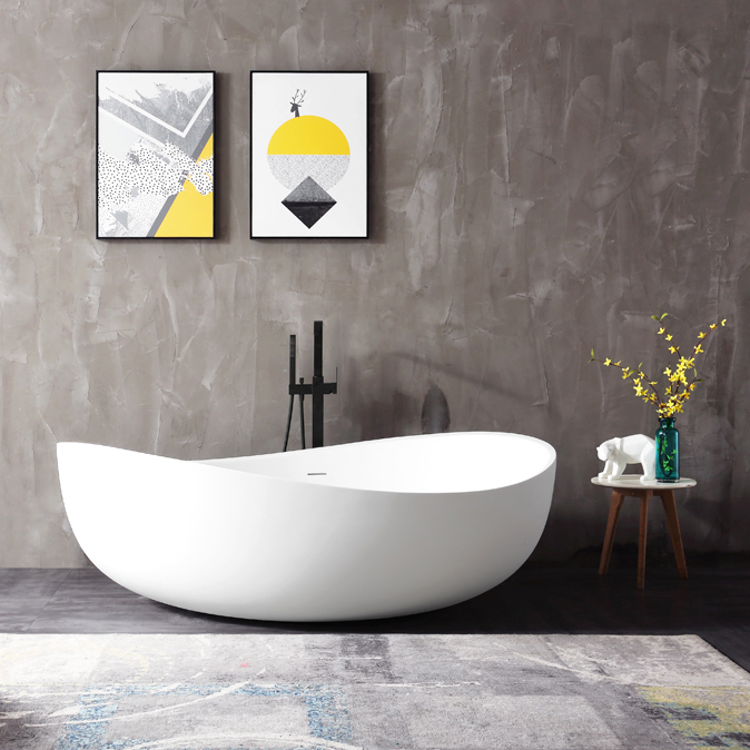 Freestanding Bathtub WAVE - sanitary acrylic - glossy white - 180 x110 x 62 cm - optional taps – Bild 1