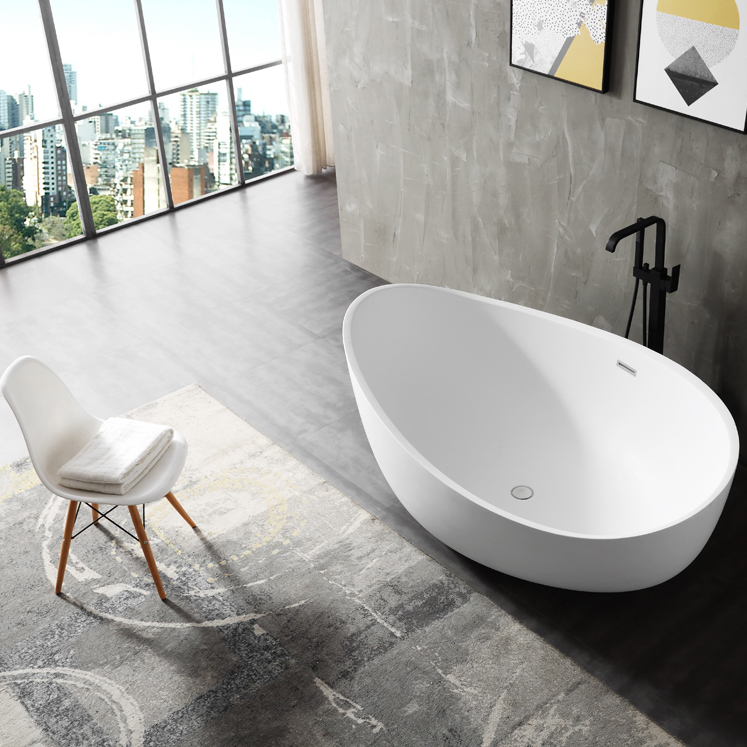Freestanding Bathtub WAVE - sanitary acrylic - glossy white - 180 x110 x 62 cm - optional taps – Bild 2