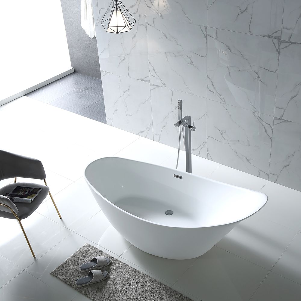 Freestanding Bathtub SOPHIE- glossy white-190 x 80 x 82,80 cm  - optional taps – Bild 5
