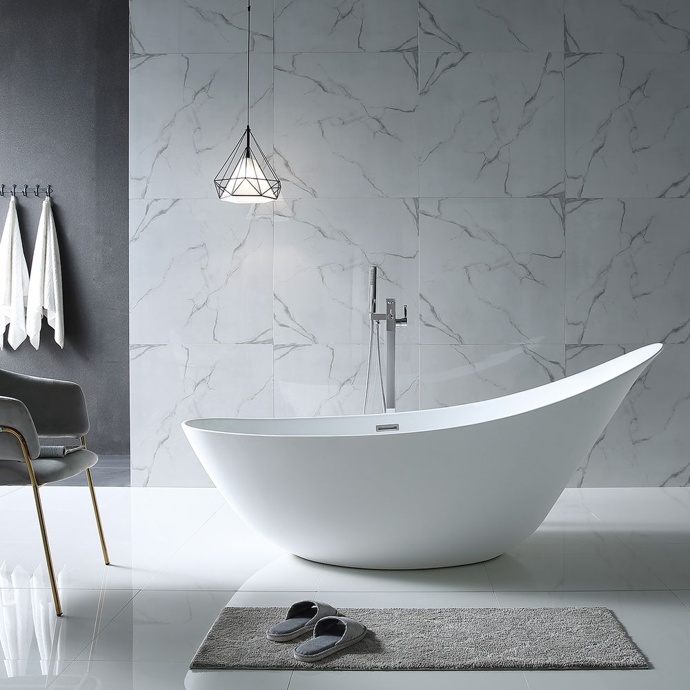 Freestanding Bathtub SOPHIE- glossy white-190 x 80 x 82,80 cm  - optional taps – Bild 4