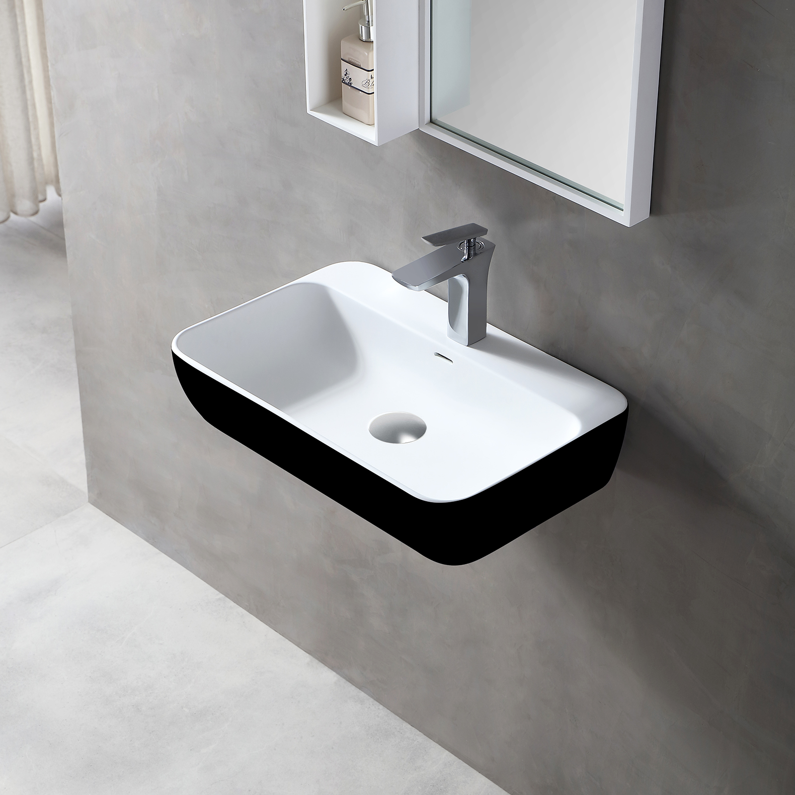 Wall-mounted or countertop washbasin TWG201 - of solid surface (Solid Stone) – matt black/White – 60 x 40 x 14 cm