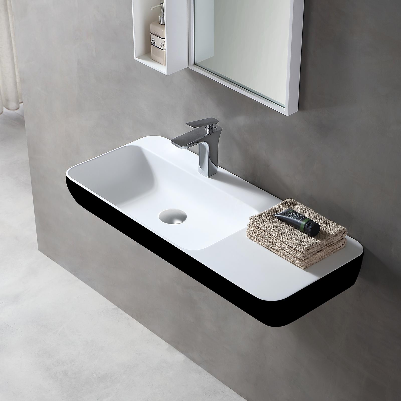 Wandwaschbecken Aufsatzwaschbecken TWG202 aus Mineralguss Solid Stone – Schwarz/ Weiß matt – 90x40x12cm
