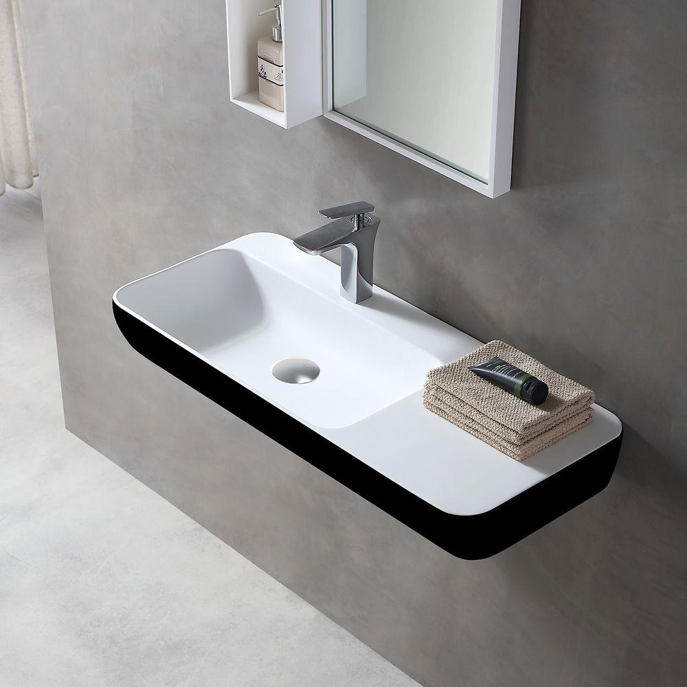 Wandwaschbecken Aufsatzwaschbecken TWG202 aus Mineralguss Solid Stone – Schwarz/ Weiß matt – 90x40x12cm – Bild 1