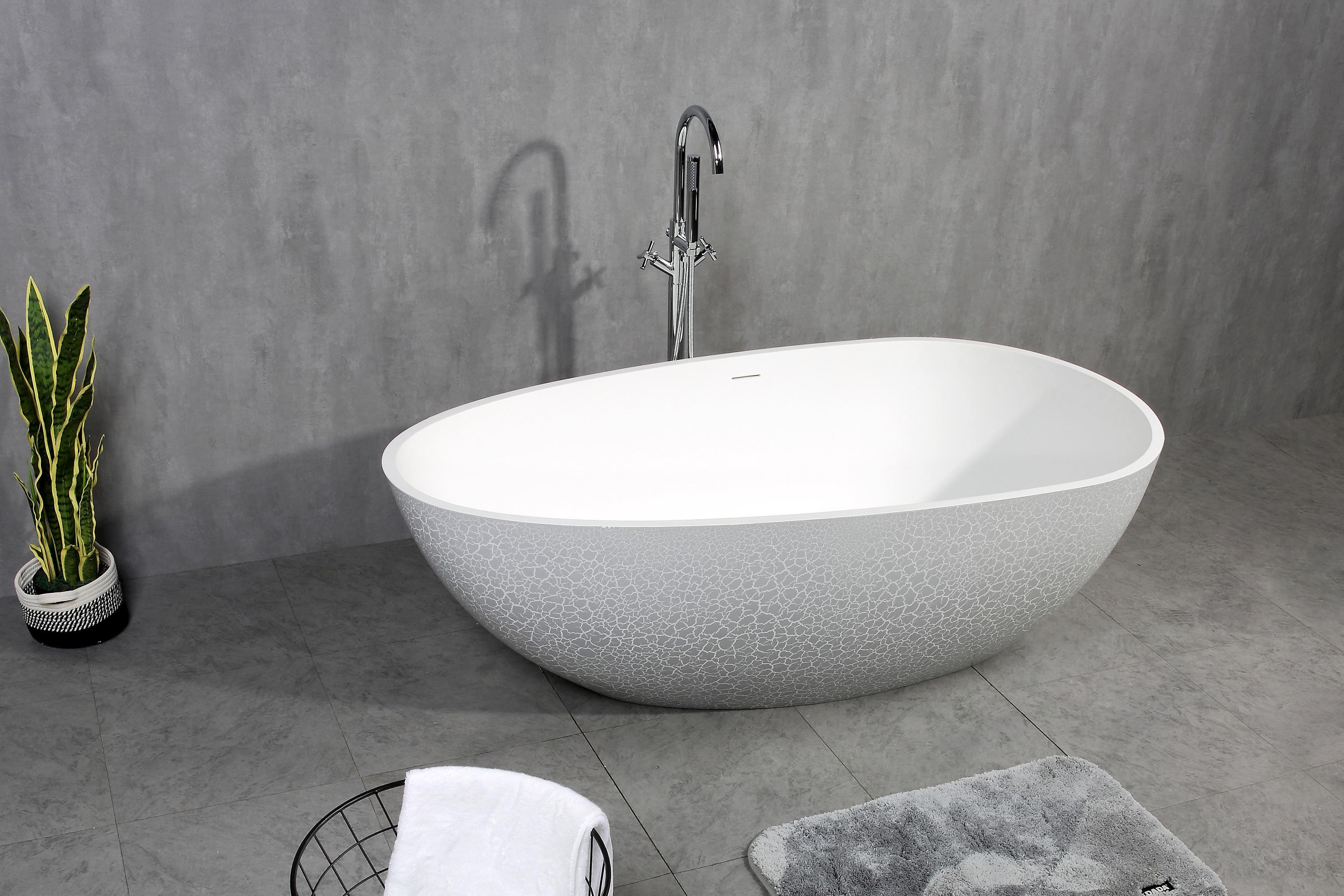 Freistehende Badewanne aus Mineralguss OCEANIA - 170x85cm - Vintage Stil grau matt