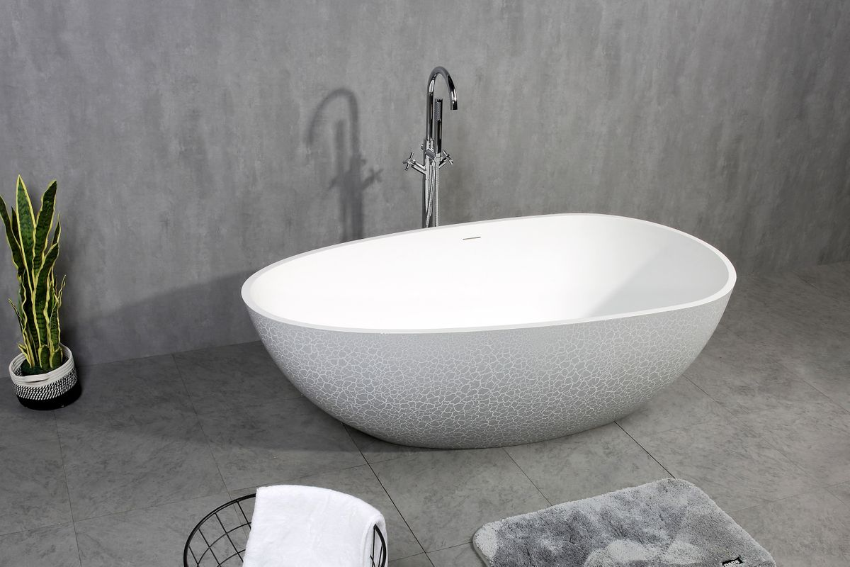 Freestanding Bathtub made of mineral cast OCEANIA - 170x85cm - rubble matt grey – Bild 1