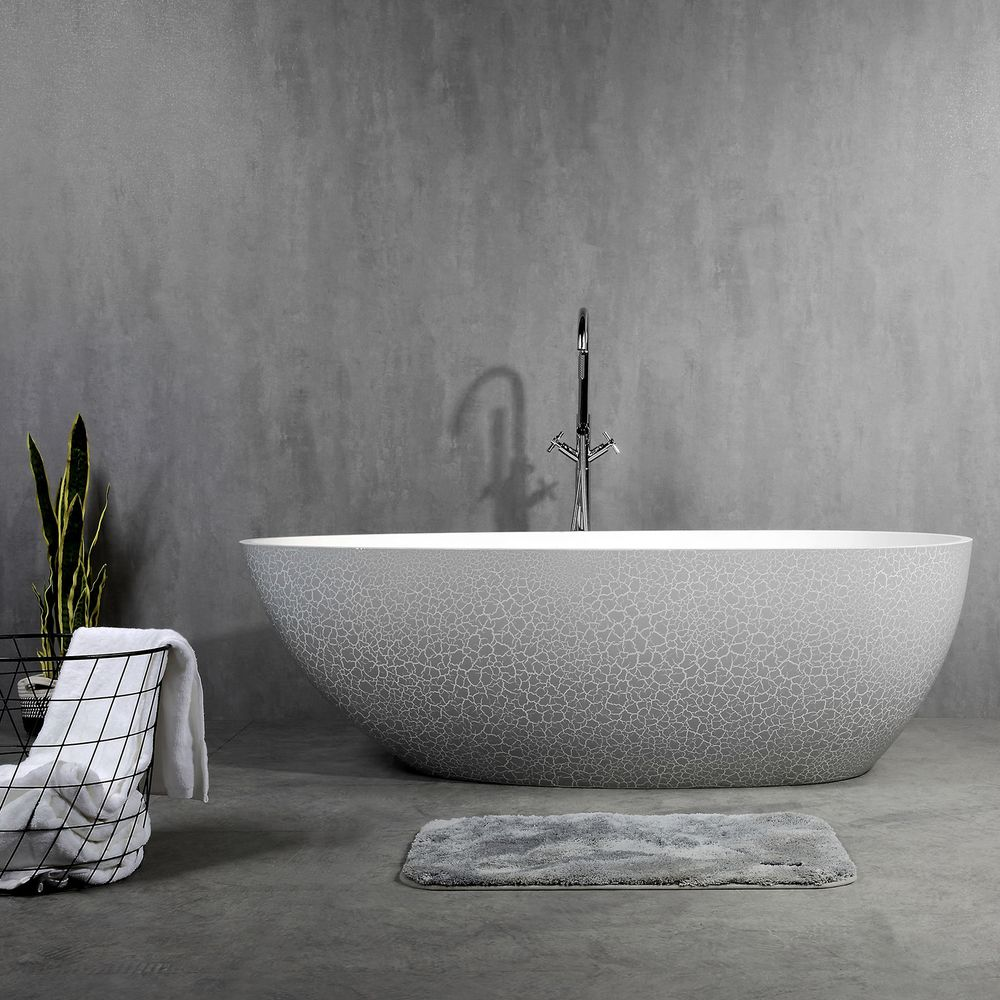 Freestanding Bathtub made of mineral cast OCEANIA - 170x85cm - rubble matt grey – Bild 3