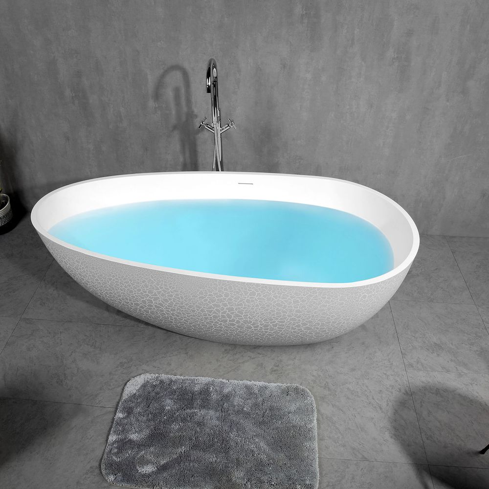 Freestanding Bathtub made of mineral cast OCEANIA - 170x85cm - rubble matt grey – Bild 4