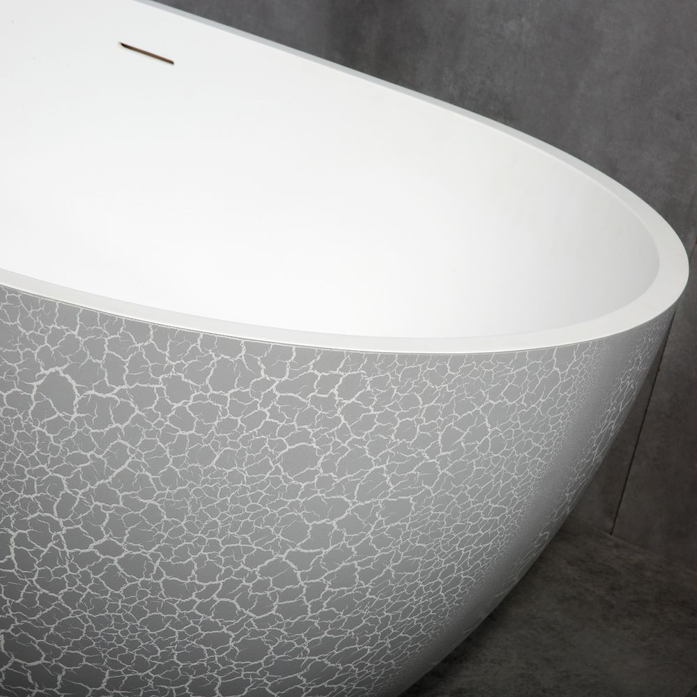 Freestanding Bathtub made of mineral cast OCEANIA - 170x85cm - rubble matt grey – Bild 5