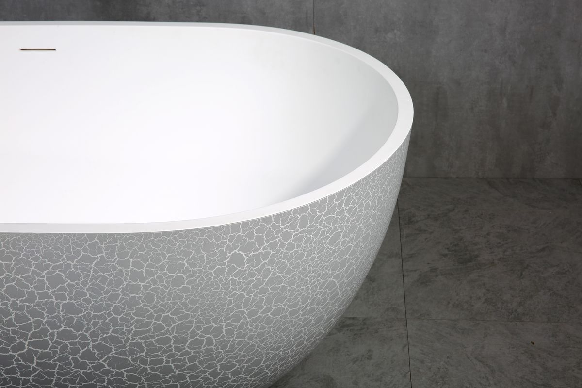 Freestanding Bathtub made of mineral cast OCEANIA - 170x85cm - rubble matt grey – Bild 6