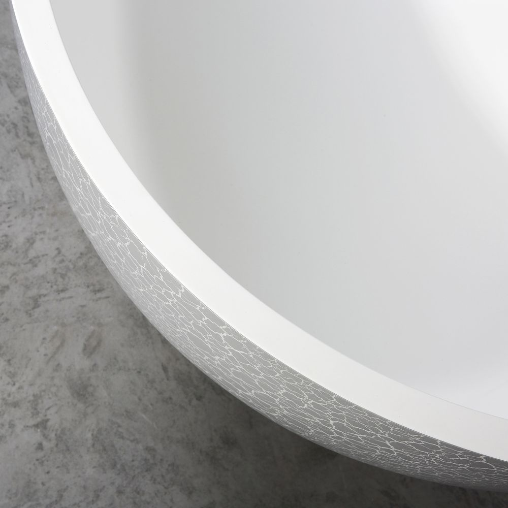 Freestanding Bathtub made of mineral cast OCEANIA - 170x85cm - rubble matt grey – Bild 9