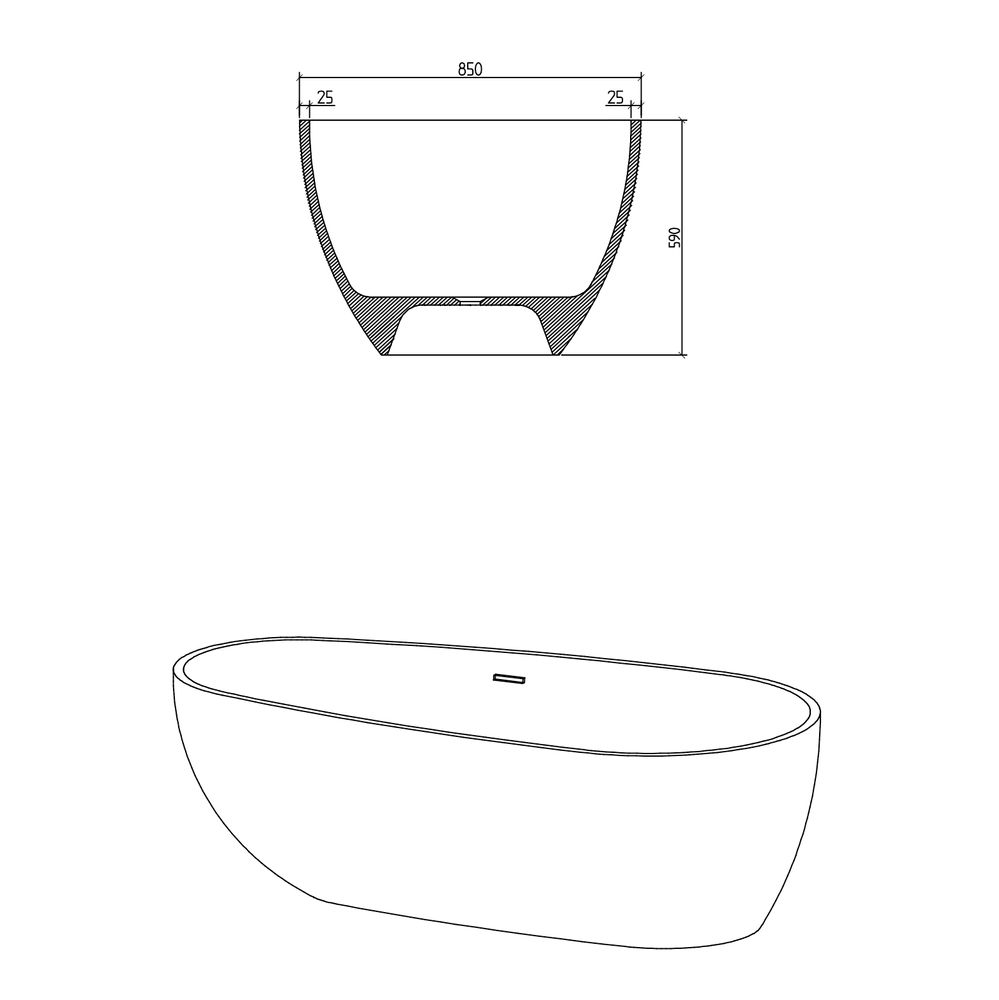 Freestanding Bathtub made of mineral cast OCEANIA - 170x85cm - rubble matt grey – Bild 11