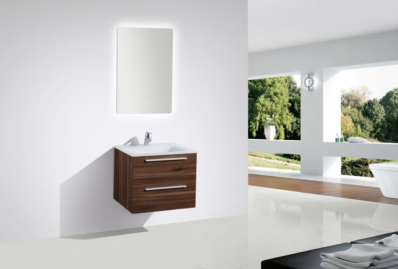 Badmöbel-Set M600 Walnuss mit Glaswaschbecken - Spiegel optional