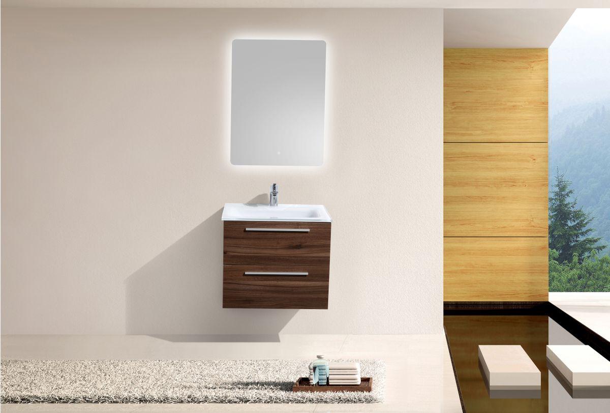 Badmöbel-Set M600 Walnuss mit Glaswaschbecken - Spiegel optional – Bild 2