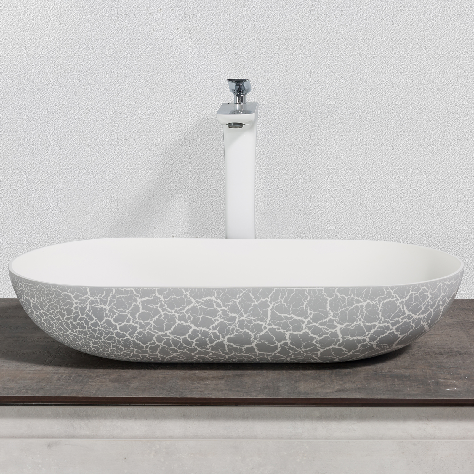 Countertop basin O-540 OCEAN of mineral cast -  rubble matt grey - 54 x 34 x 12cm