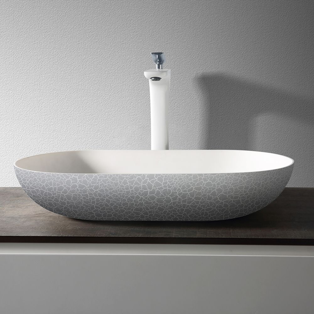Countertop basin O-540 OCEAN of mineral cast -  rubble matt grey - 54 x 34 x 12cm – Bild 3