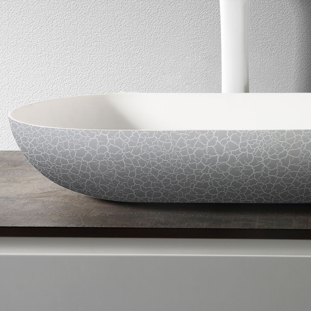 Countertop basin O-540 OCEAN of mineral cast -  rubble matt grey - 54 x 34 x 12cm – Bild 4