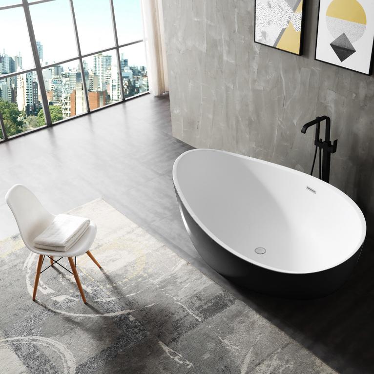 Freistehende Badewanne WAVE Acryl Schwarz oder Schwarz/Weiß - 180 x 110 x 62 cm - Standarmatur wählbar – Bild 3