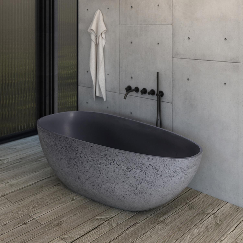 Freistehende Design Badewanne aus Mineralguss VELA in Beton-Optik matt - 165,5 x 84,5 cm