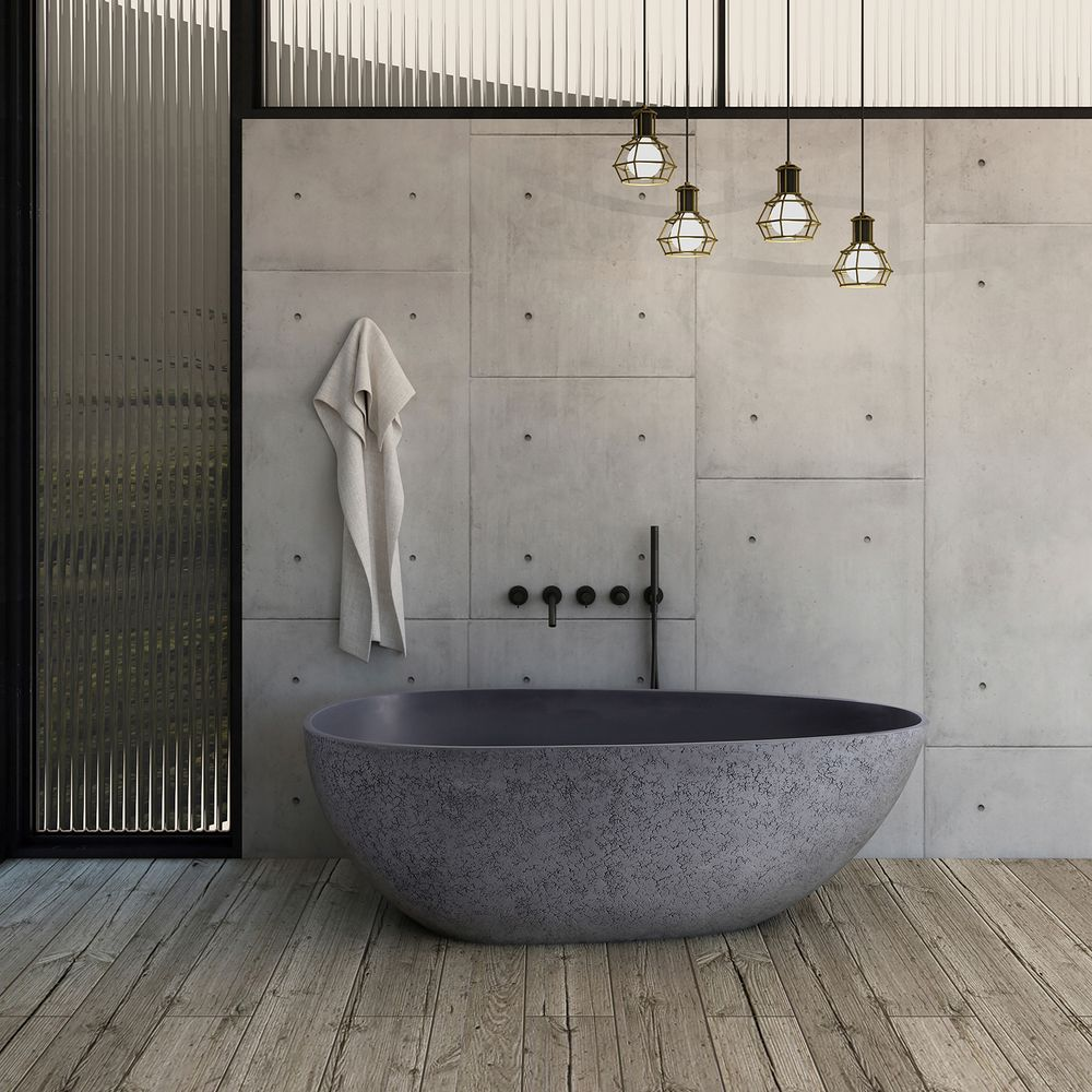 Freistehende Design Badewanne aus Mineralguss VELA in Beton-Optik matt - 165,5 x 84,5 cm – Bild 2