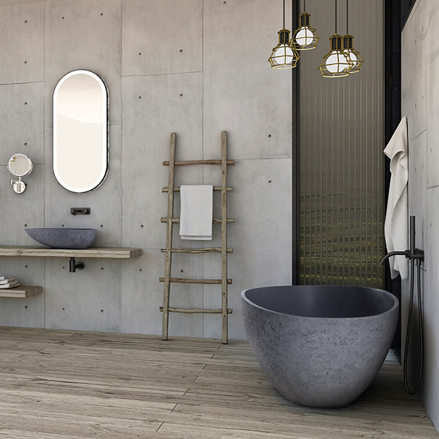 Freistehende Design Badewanne aus Mineralguss VELA in Beton-Optik matt - 165,5 x 84,5 cm – Bild 3