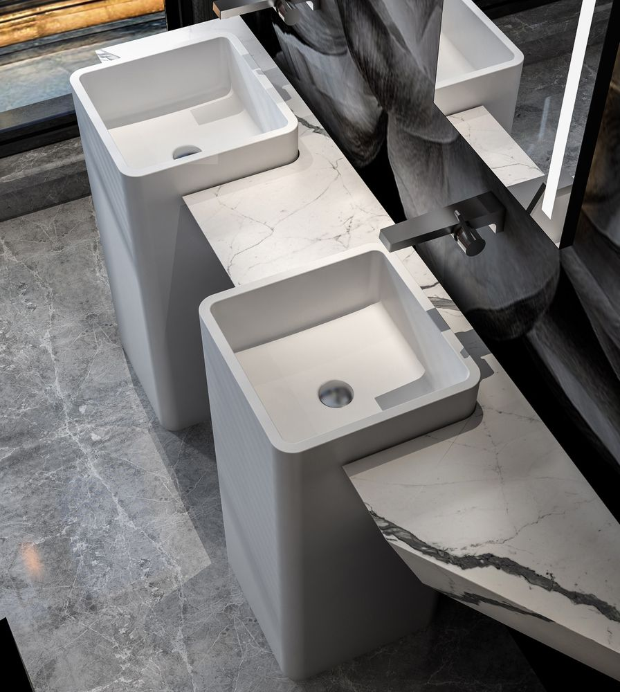 Freestanding Wash basin COLLINS made of Solid Stone - White - with LED Lighting - 39,5 x 39,5 x 85 cm – Bild 5