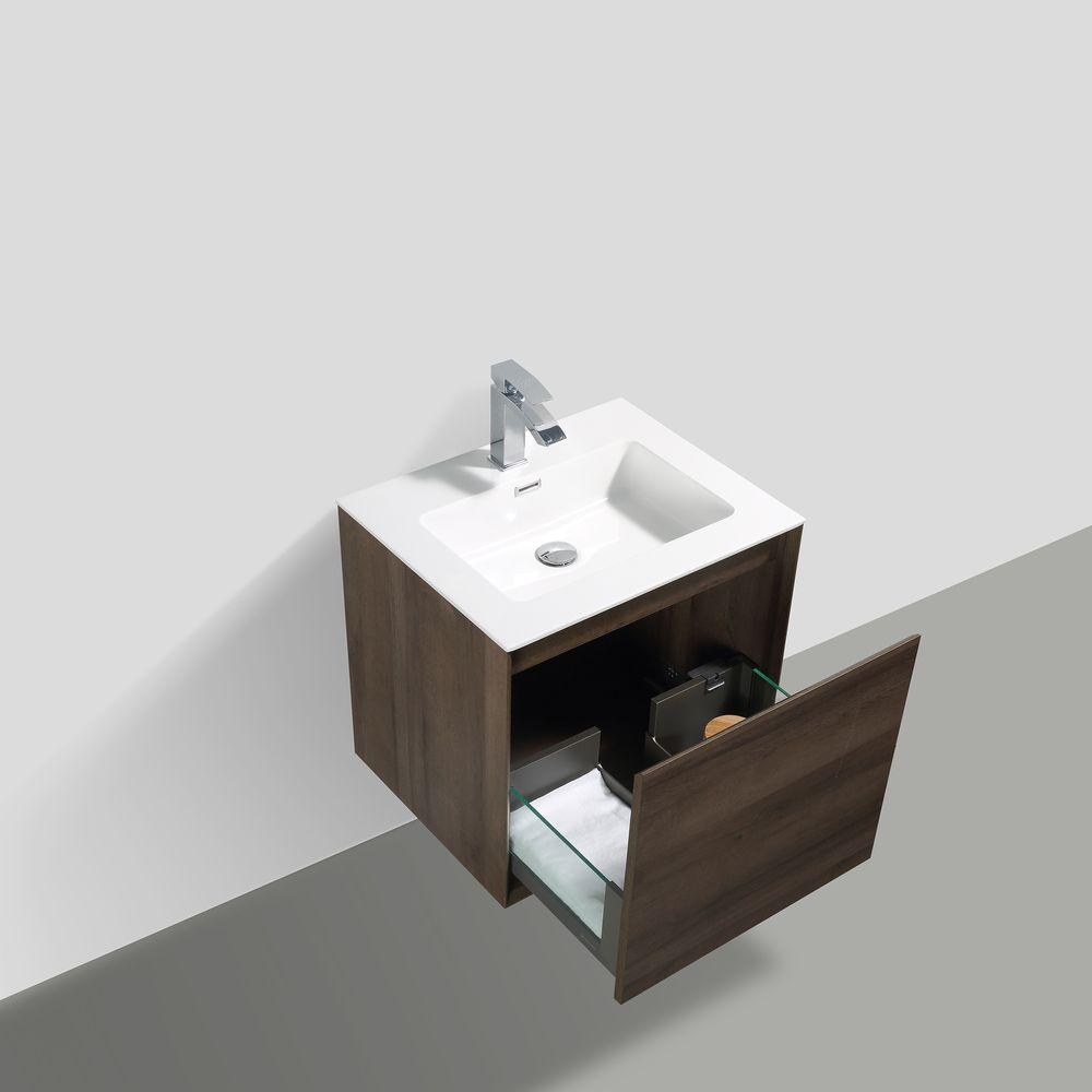 Badmöbel-Set Freya 600 Holz-Optik mit LED Beleuchtung – Optional mit Spiegel – Bild 4