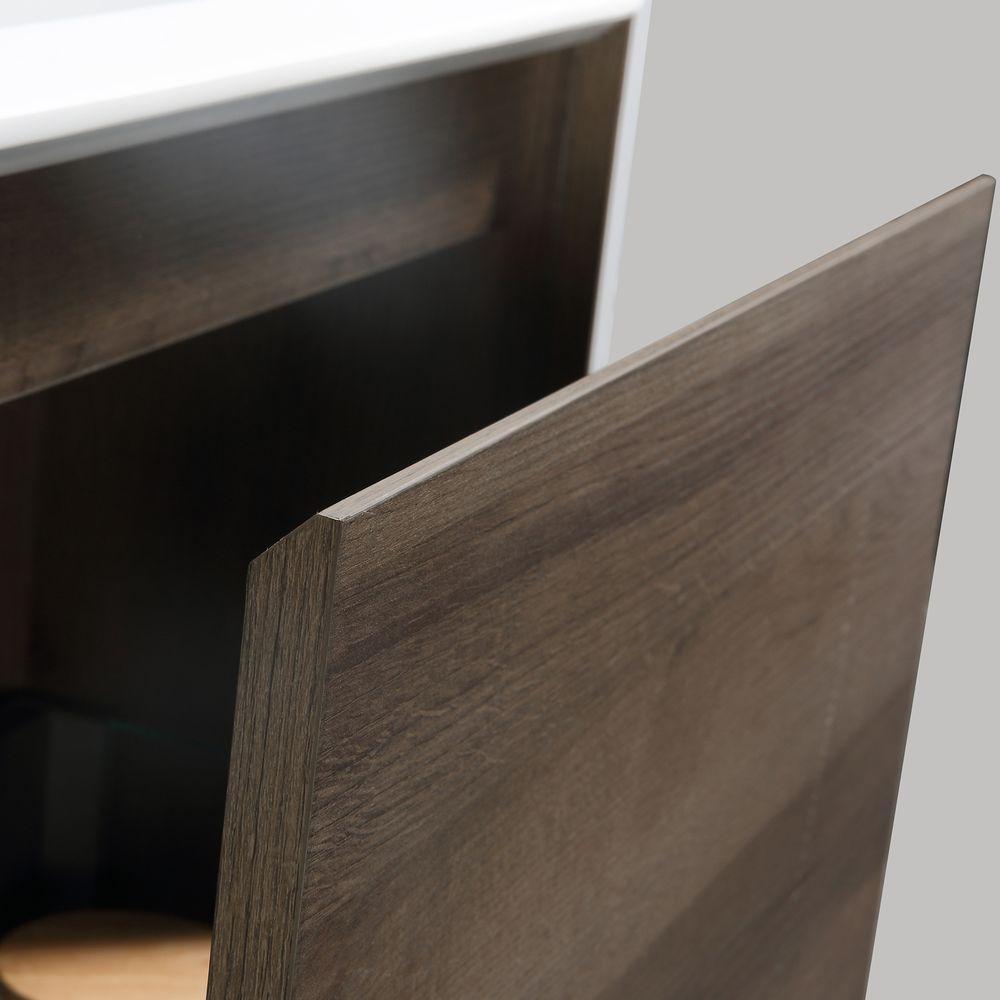 Badmöbel-Set Freya 600 Holz-Optik mit LED Beleuchtung – Optional mit Spiegel – Bild 7