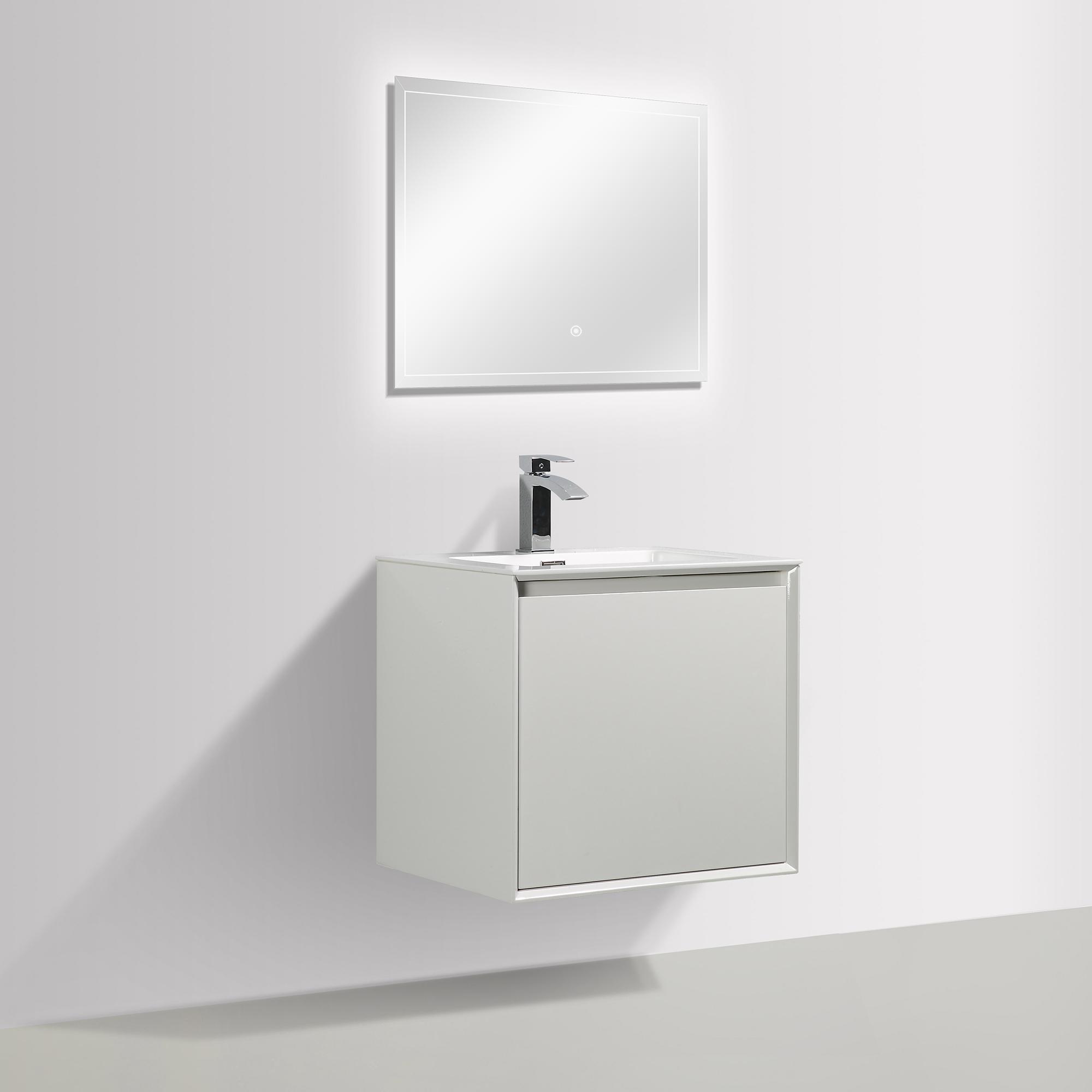 Badmöbel-Set Freya 600 Weiss glänzend mit LED Beleuchtung – Optional mit Spiegel