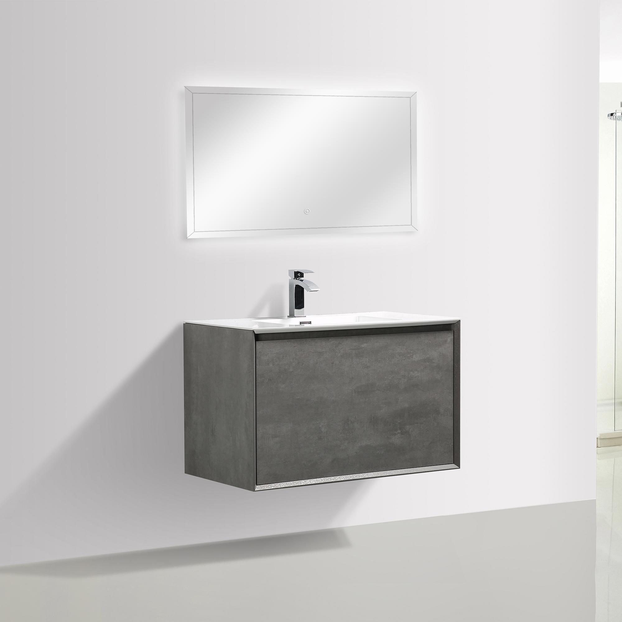 Badmöbel-Set Freya 900 Beton-Optik mit LED Beleuchtung – Optional mit Spiegel
