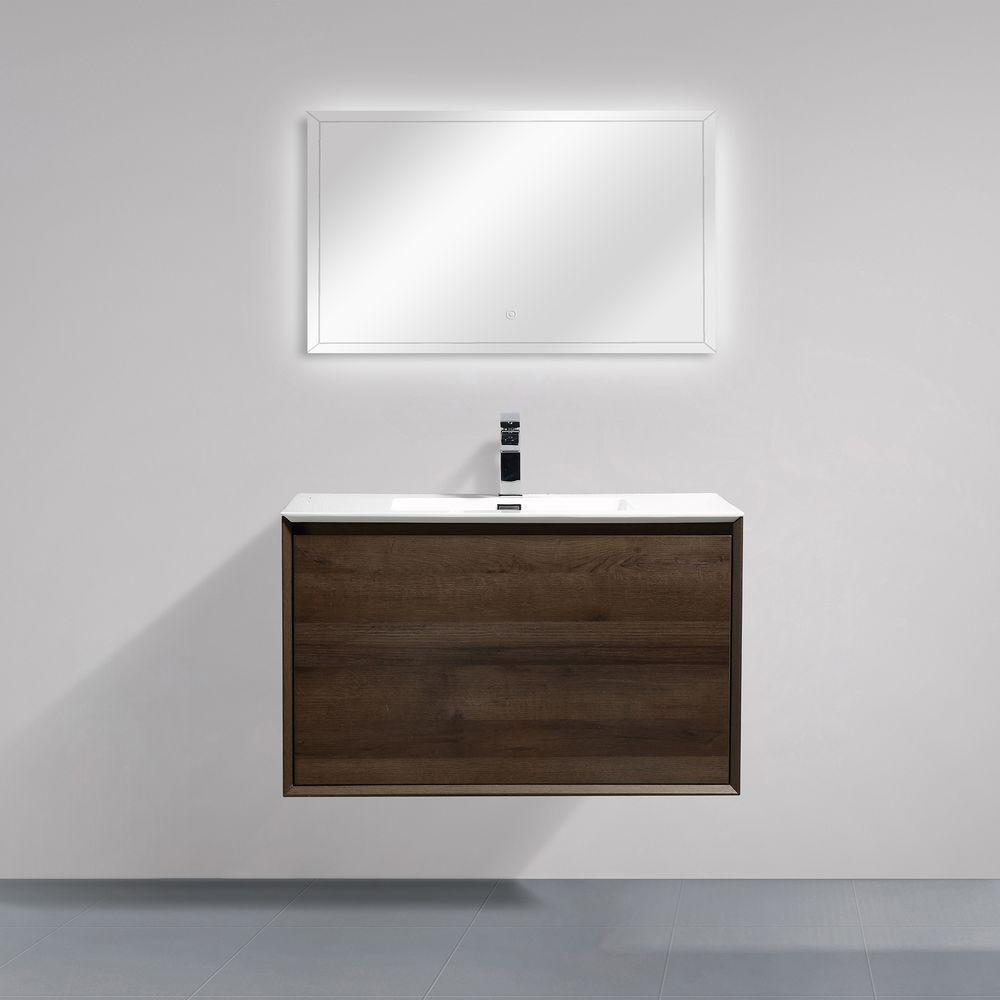 Badmöbel-Set Freya 900 Holz-Optik mit LED Beleuchtung – Optional mit Spiegel – Bild 2