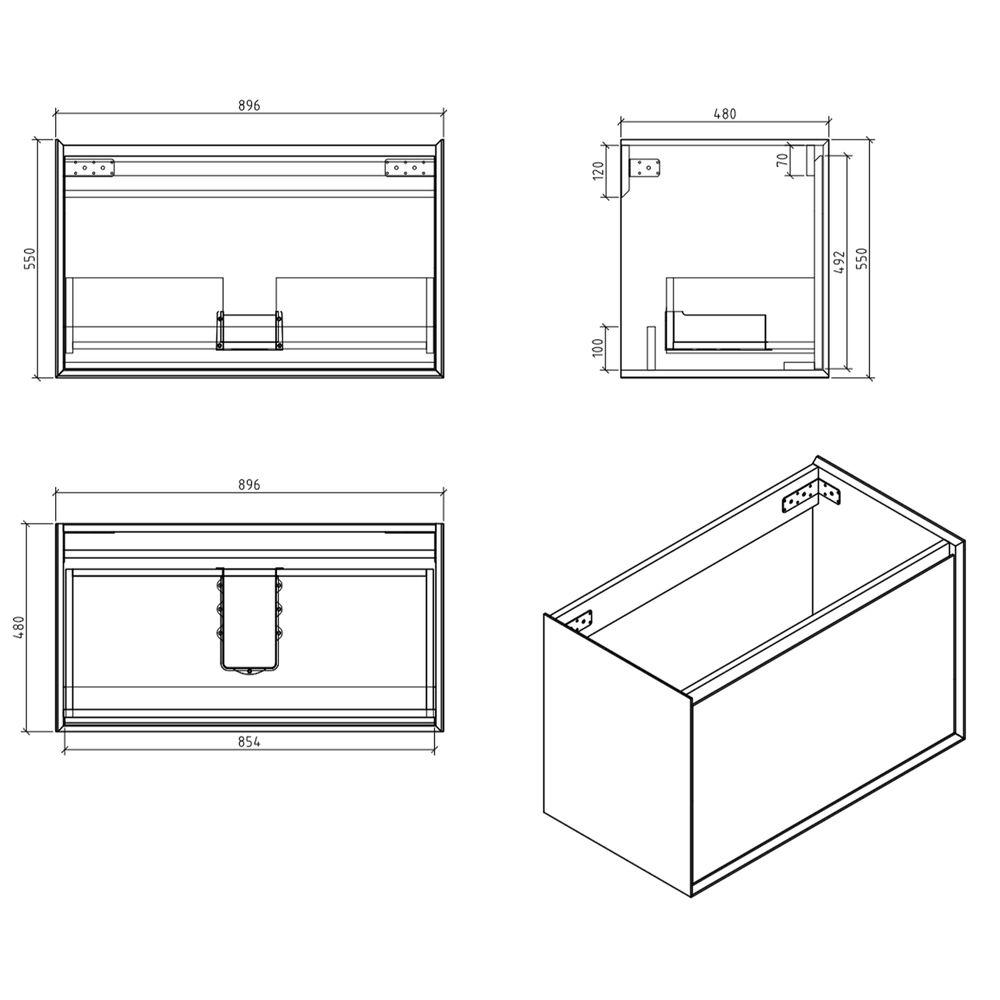 Badmöbel-Set Freya 900 Holz-Optik mit LED Beleuchtung – Optional mit Spiegel – Bild 9