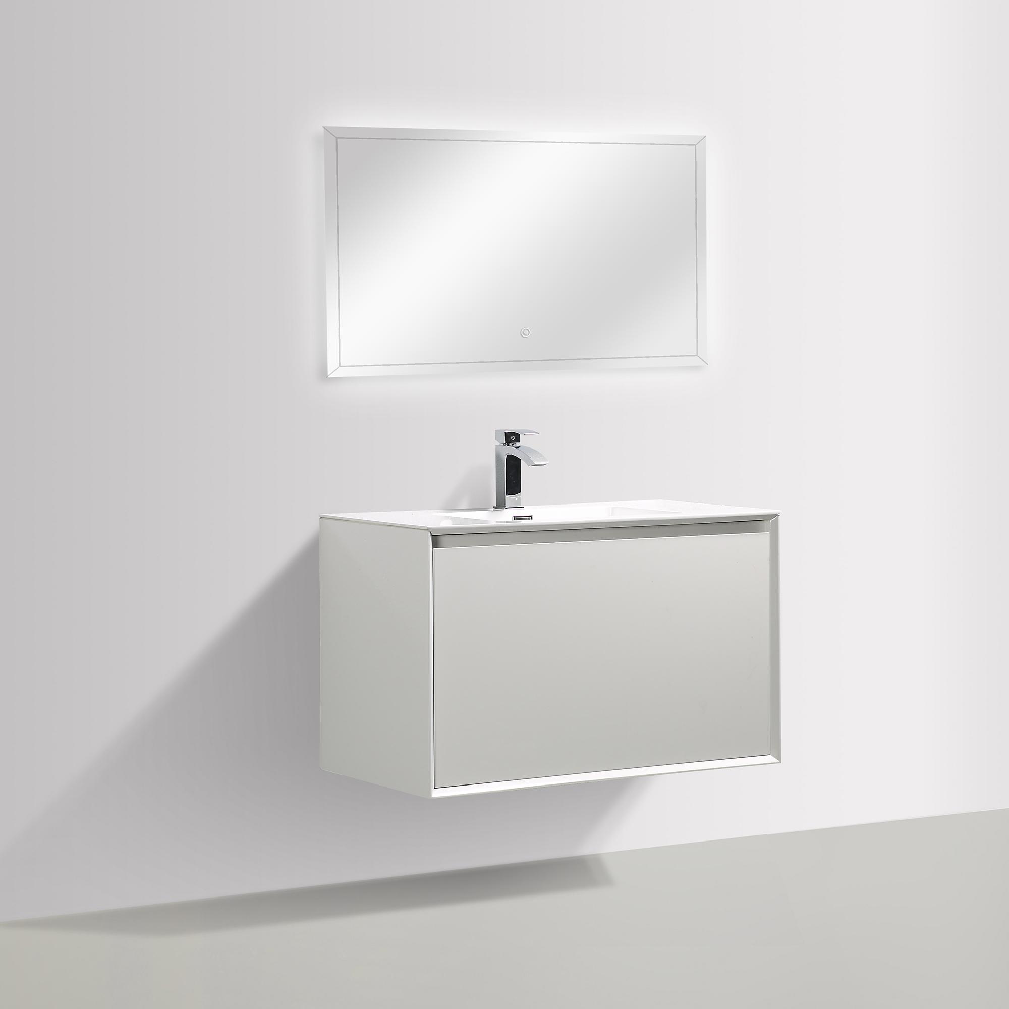 Badmöbel-Set Freya 900 Weiß glänzend mit LED Beleuchtung – Optional mit Spiegel