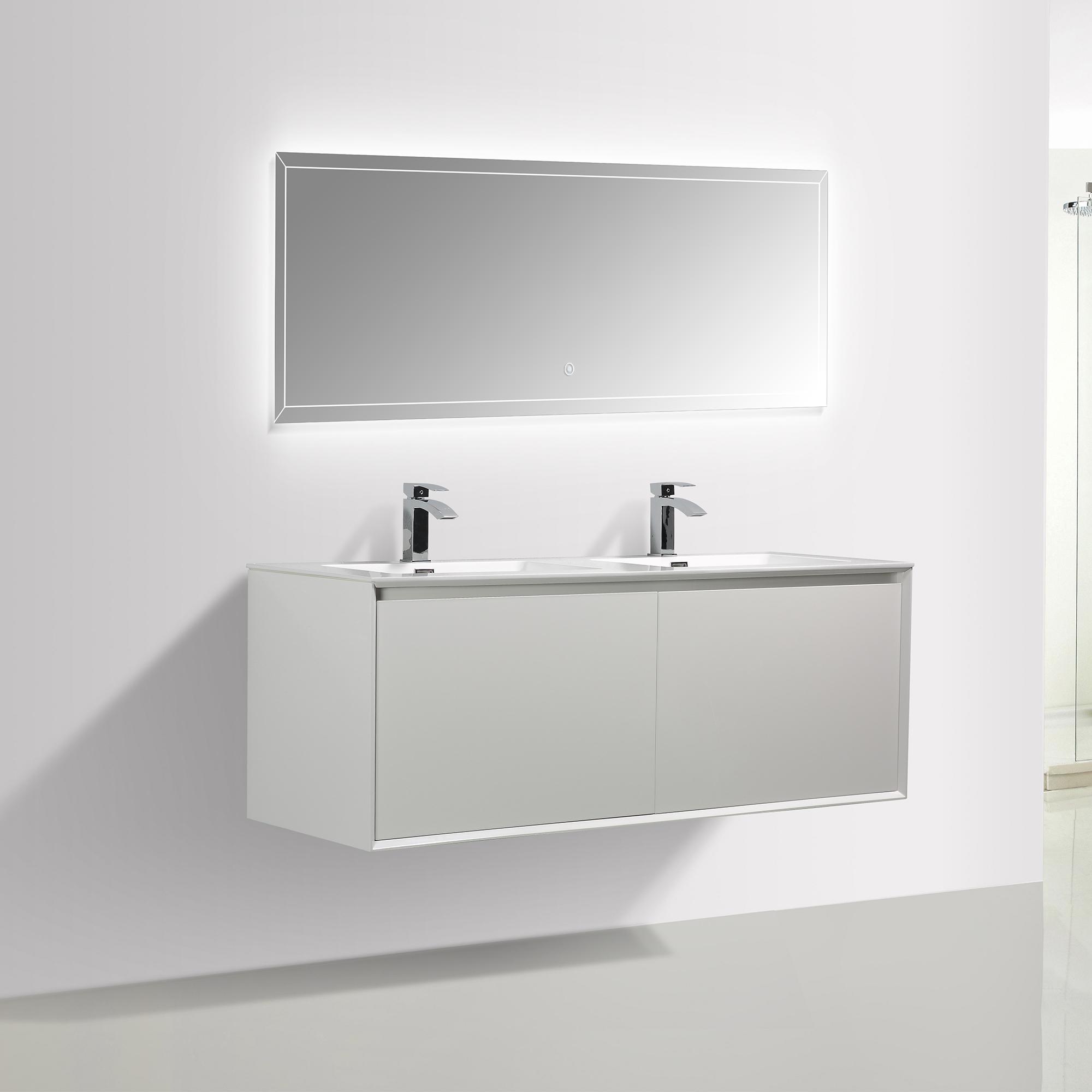 Badmöbel-Set Freya 1500 Weiß glänzend mit LED Beleuchtung