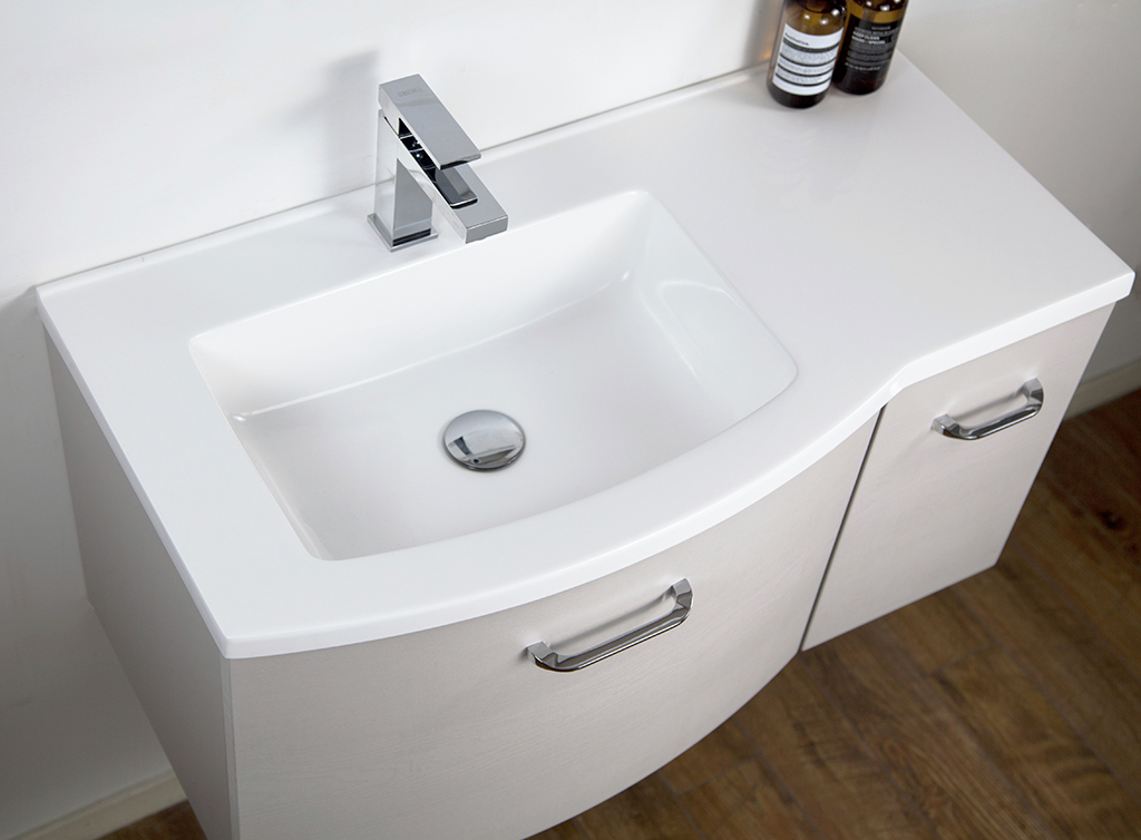 Wall-Hung Bathroom Furniture Set DANA 850 - Slightly Rounded Shape - White Wood Finish – Bild 2