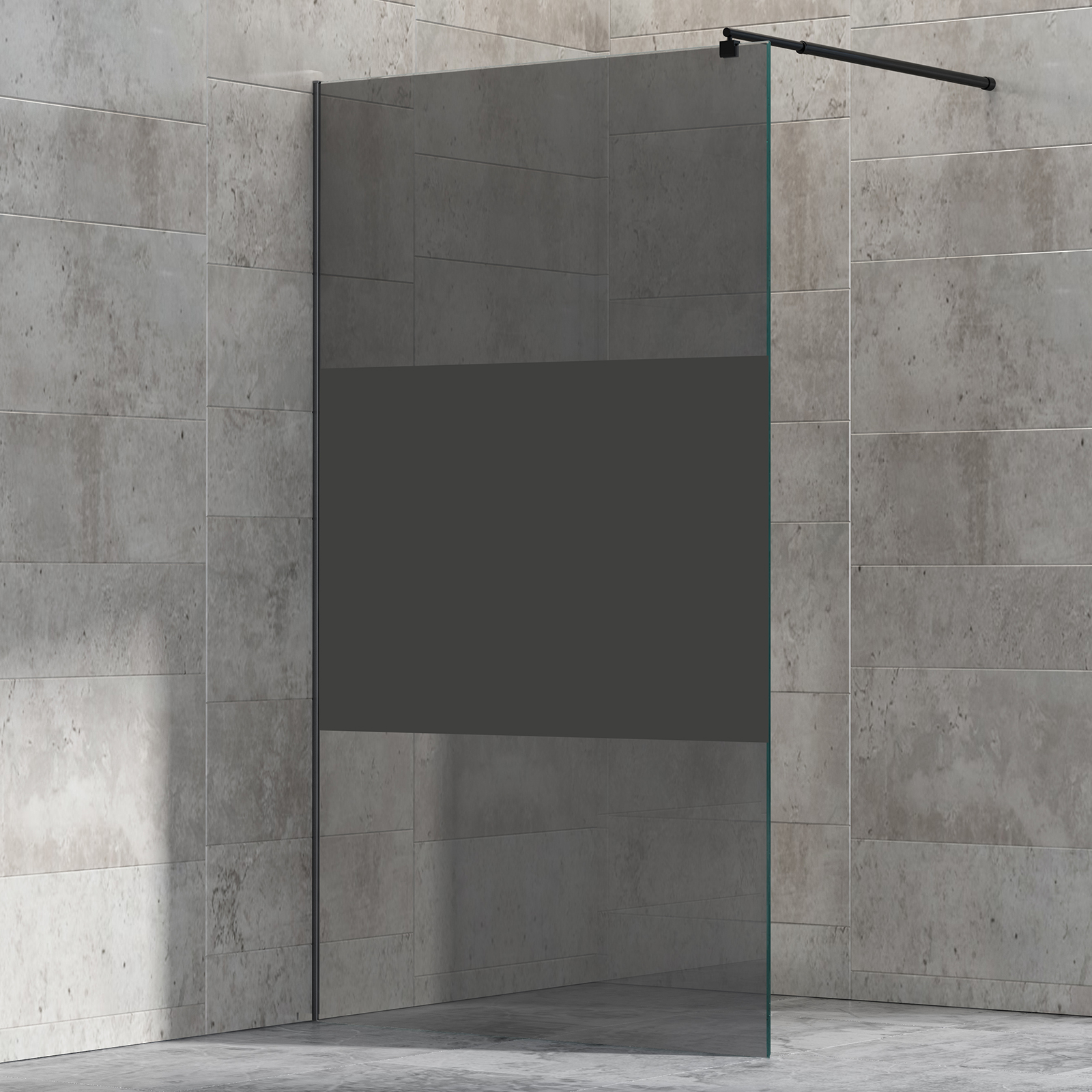 Walk In Shower Enclosure Ex101 Black Grey Frosted Glass