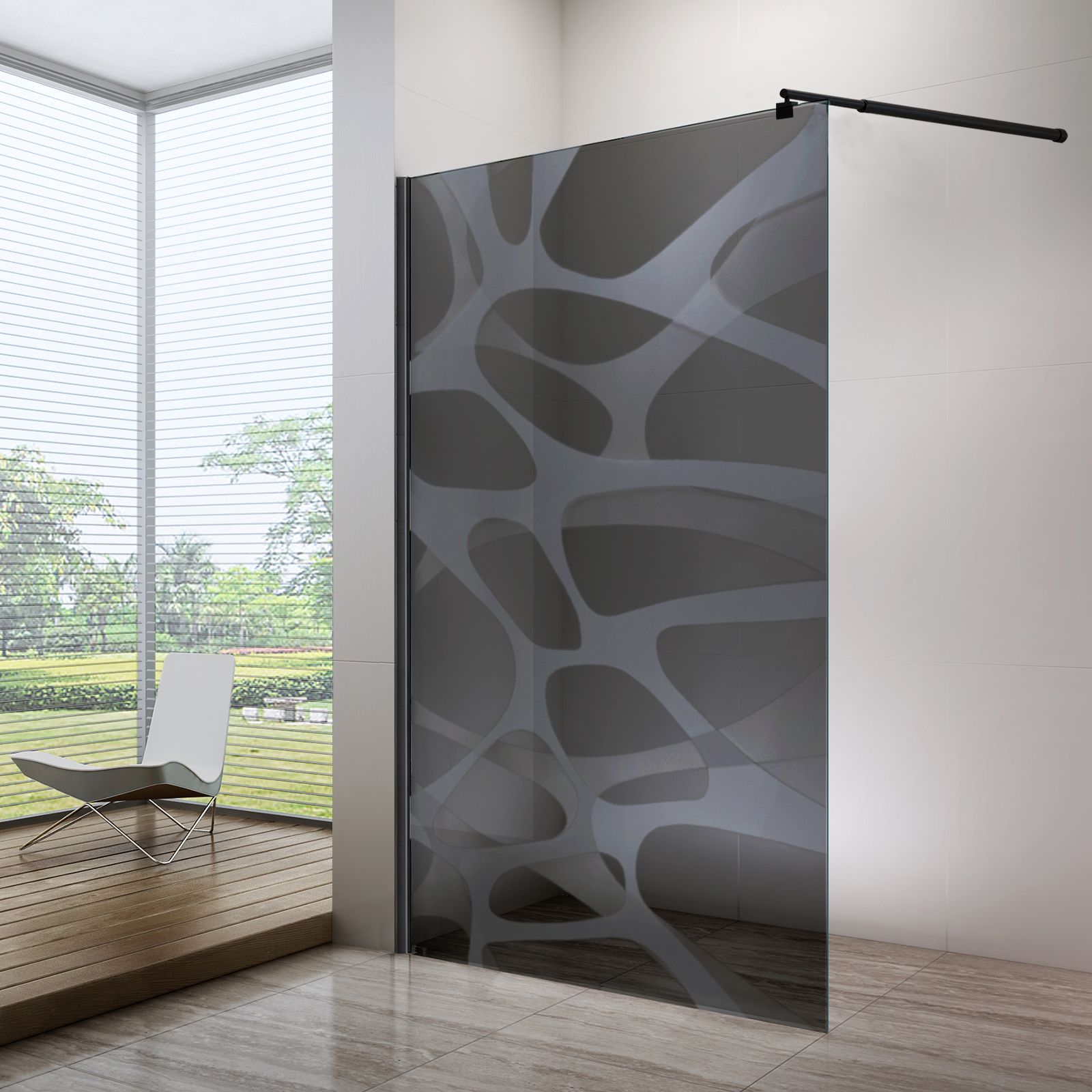 Nano coated Walk-in shower enclosure EX101  - 8mm tempered glass with Black/Grey Wave pattern - selectable width