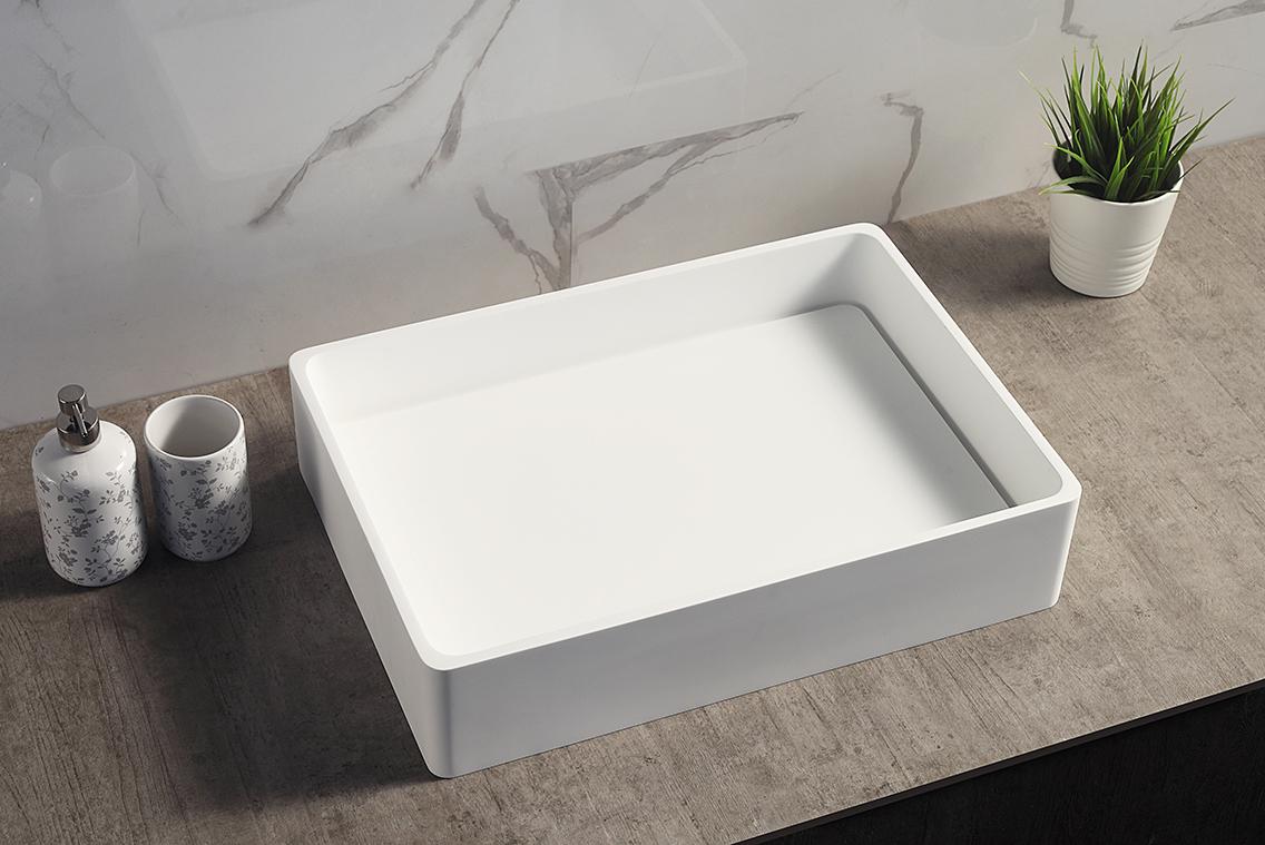 Vasque à poser TWA28 en pierre solide Solid Stone - blanc mat - 51 x 36 x 11,5cm – Bild 5