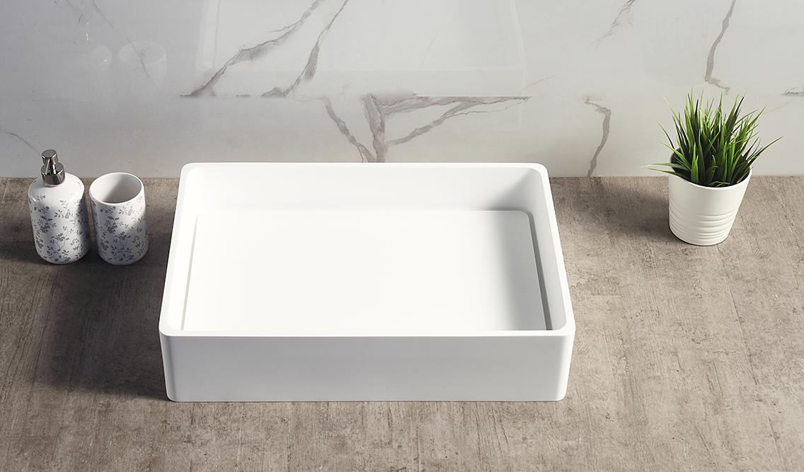 Vasque à poser TWA28 en pierre solide Solid Stone - blanc mat - 51 x 36 x 11,5cm – Bild 6