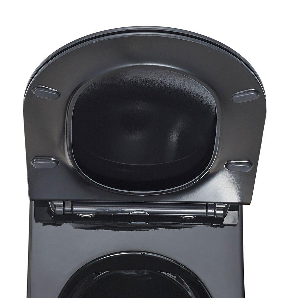 Flacher WC-Deckel Softclose WC-Sitz Ersatzdeckel U2019 Schwarz - passend für BERNSTEIN WCs (CH1088/1088R/NT2019/NT2039/CT1088/CT1099/B-8030) – Bild 2