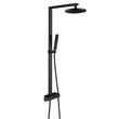 Black Thermostatic shower system NT6905B with shower hose and hand shower - Raindrop shower head selectable