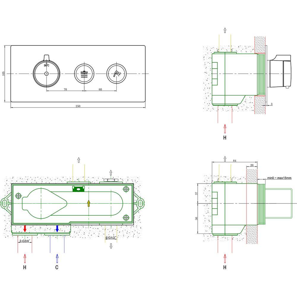 Thermostat-Unterputz-Duscharmatur NT7176 in Schwarz matt oder Weiß matt - für 2 Verbraucher - inkl. Unterputz-Grundkörper – Bild 3