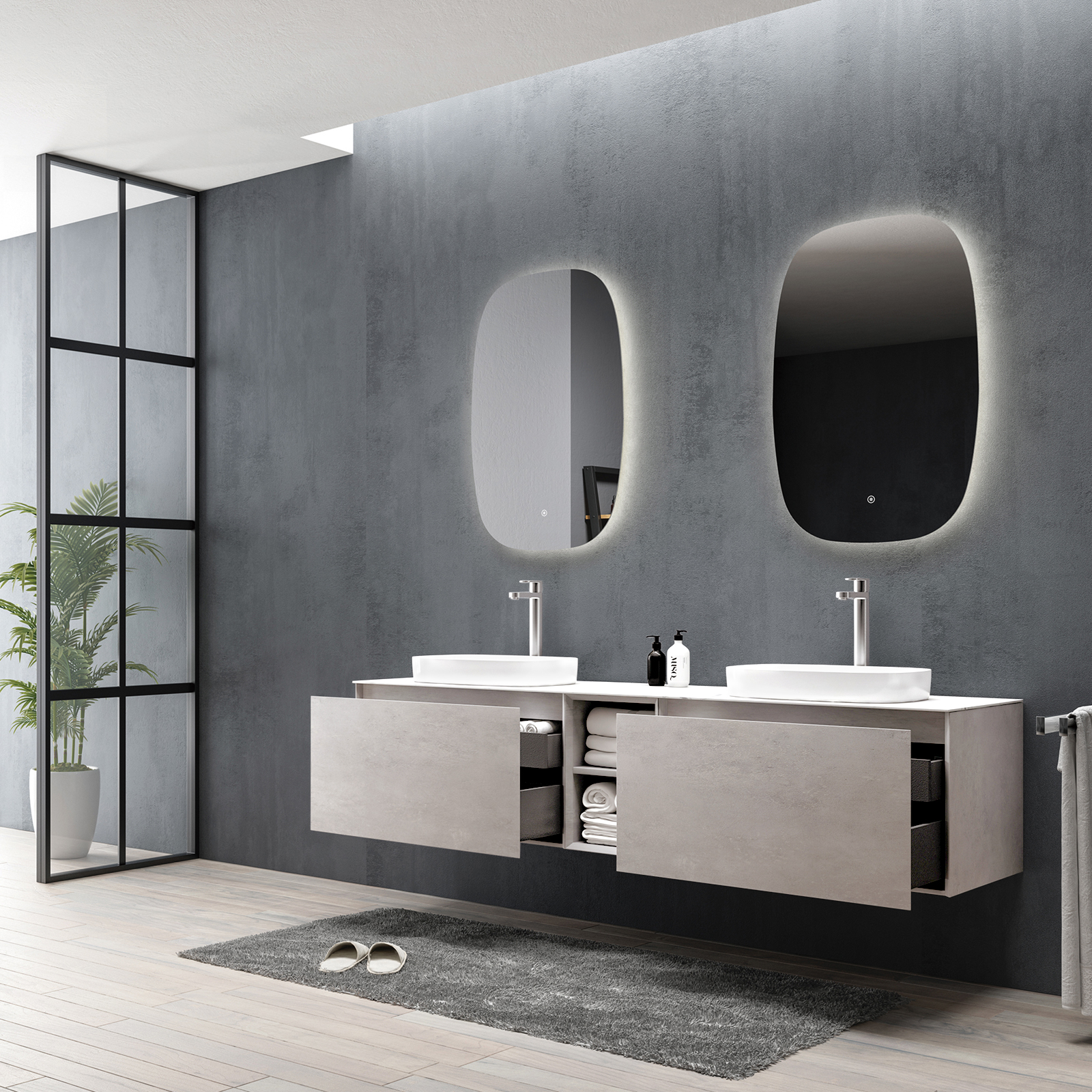 Bathroom Furniture Set INALCO 1900 - Concrete Effect  - mirror optional