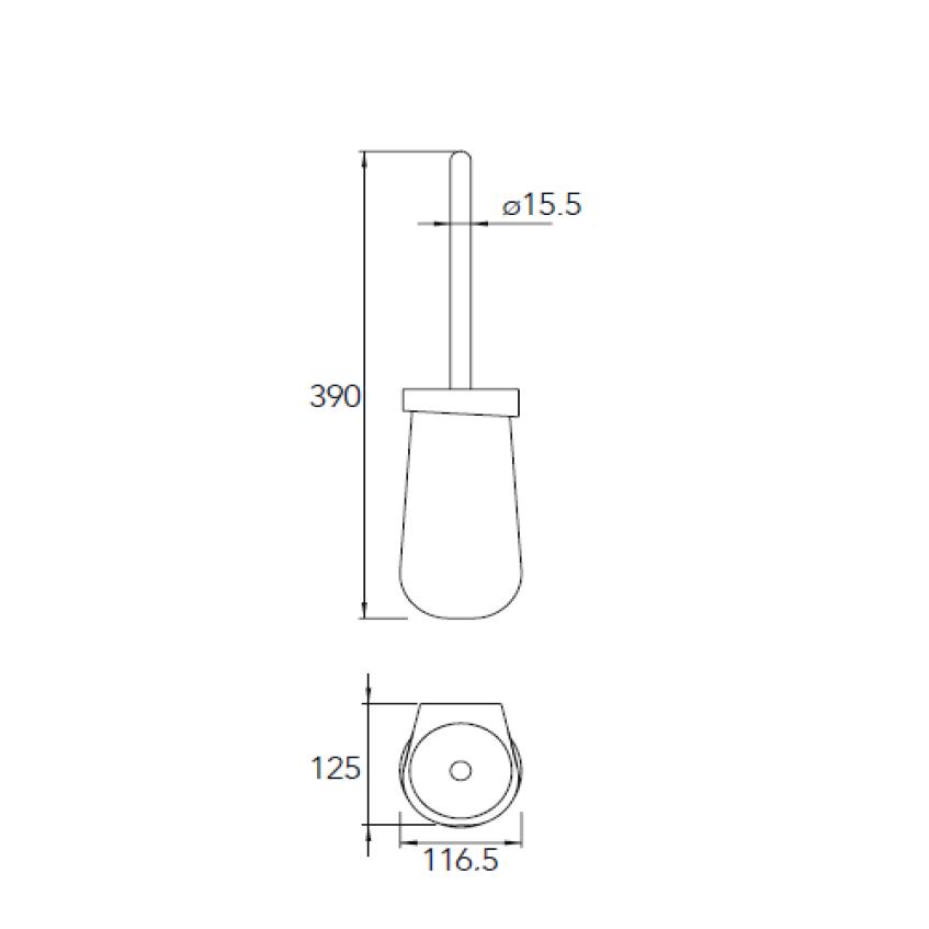 Moderner WC-Bürstenhalter SDETBH in Schwarz Matt aus Keramik mit Bürste – rundes Design - Serie ES – Bild 2