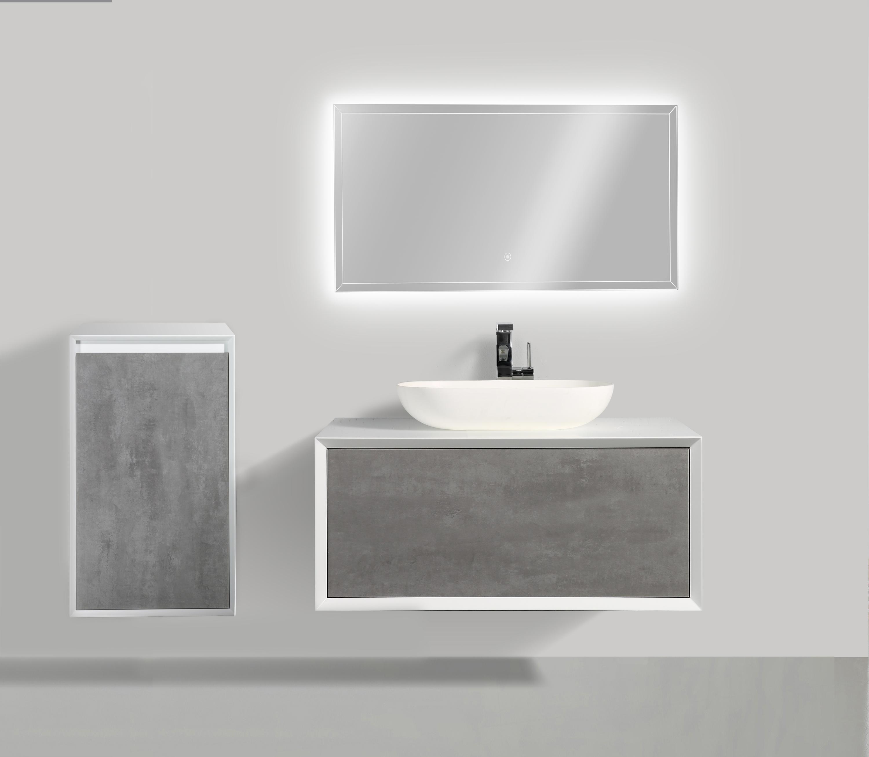 Badmöbelset Fiona 900 Weiß Matt - Front Beton- oder Eiche-Optik - Schränke und Spiegel wählbar