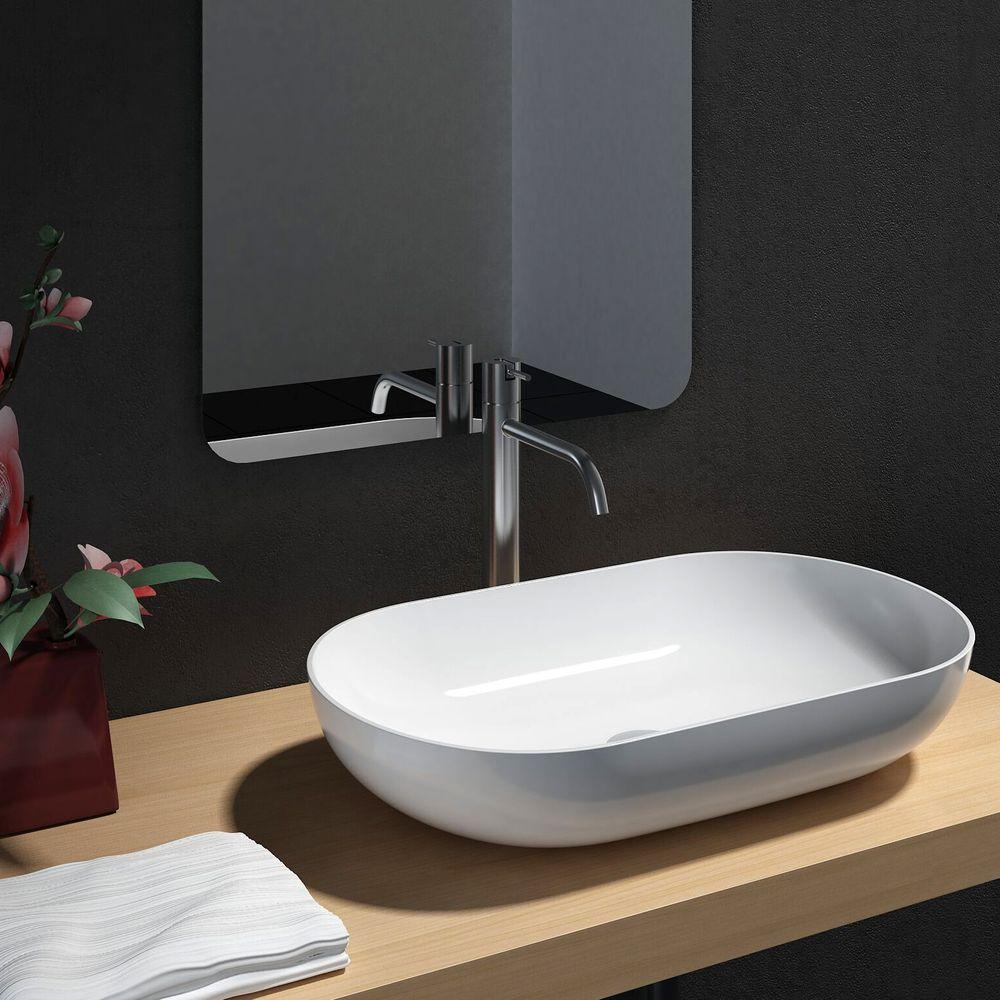 Badmöbel Fiona 900 Weiß Matt - Front Beton- oder Eiche-Optik - Seitenschrank, Waschbecken und Spiegel optional – Bild 6