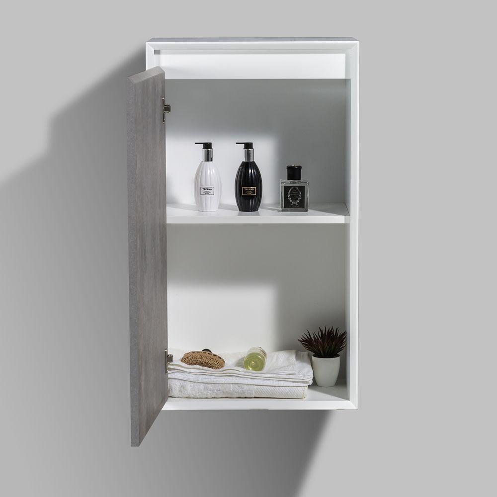 Badmöbelset Fiona 900 Weiß Matt - Front Beton- oder Eiche-Optik - Schränke und Spiegel wählbar – Bild 6