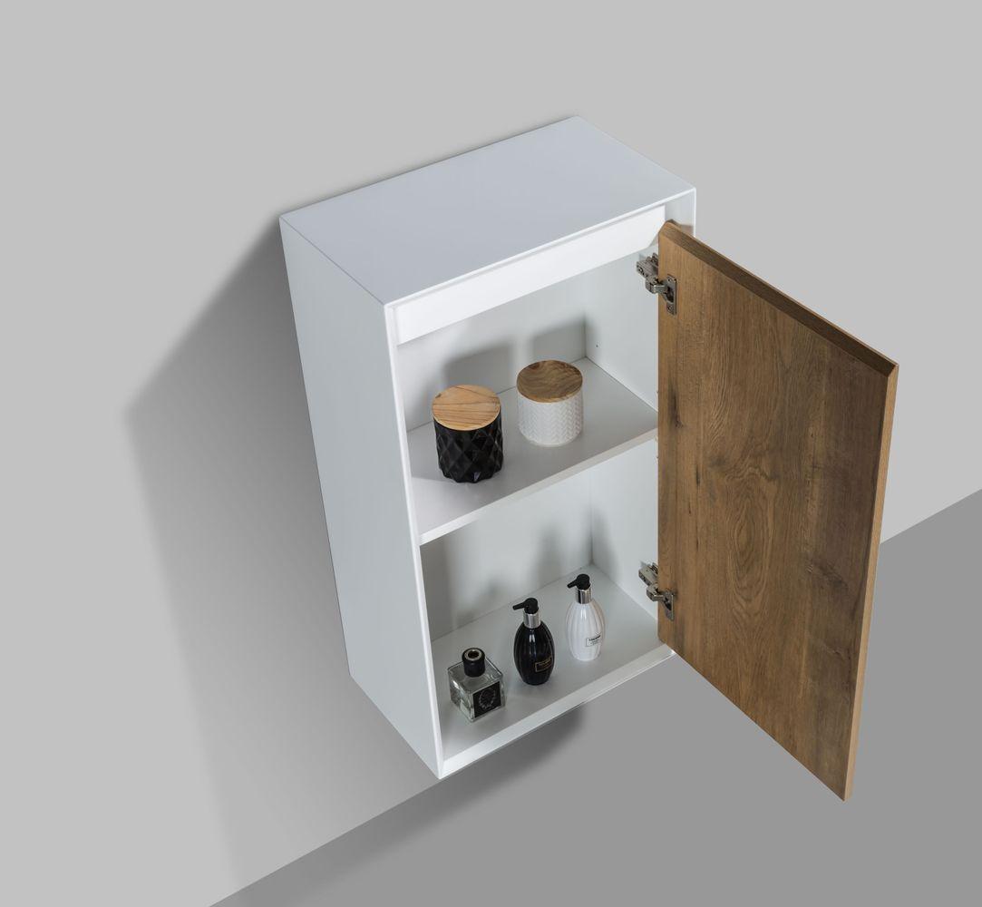 Badmöbelset Fiona 900 Weiß Matt - Front Beton- oder Eiche-Optik - Schränke und Spiegel wählbar – Bild 7