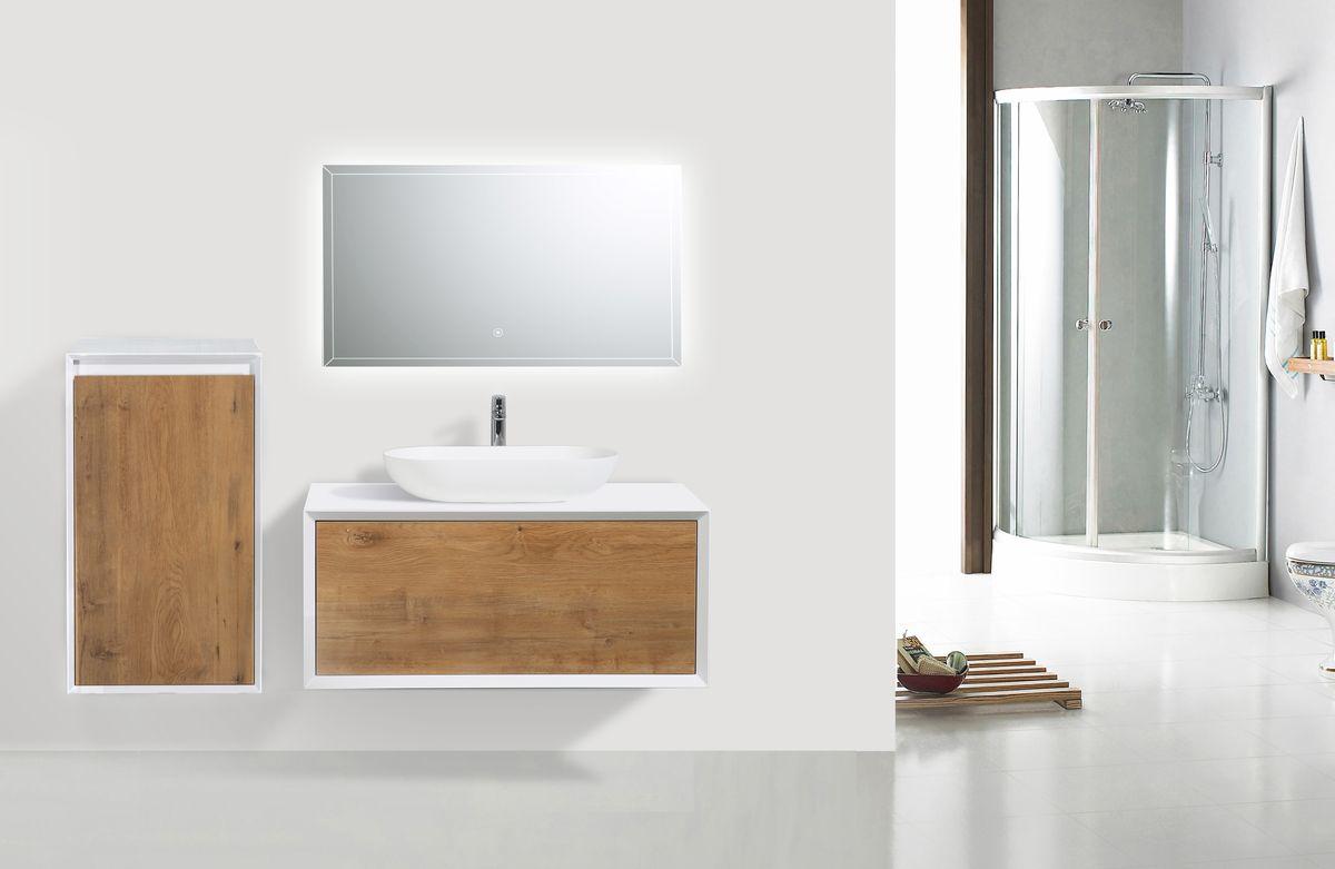 Badmöbelset Fiona 900 Weiß Matt - Front Beton- oder Eiche-Optik - Schränke und Spiegel wählbar – Bild 2