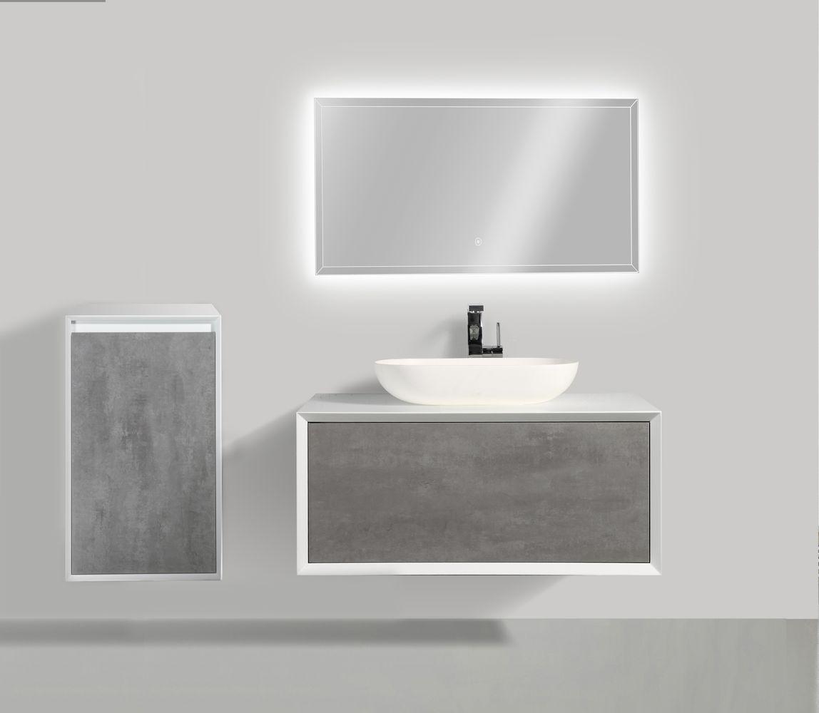 Badmöbelset Fiona 900 Weiß Matt - Front Beton- oder Eiche-Optik - Schränke und Spiegel wählbar – Bild 1