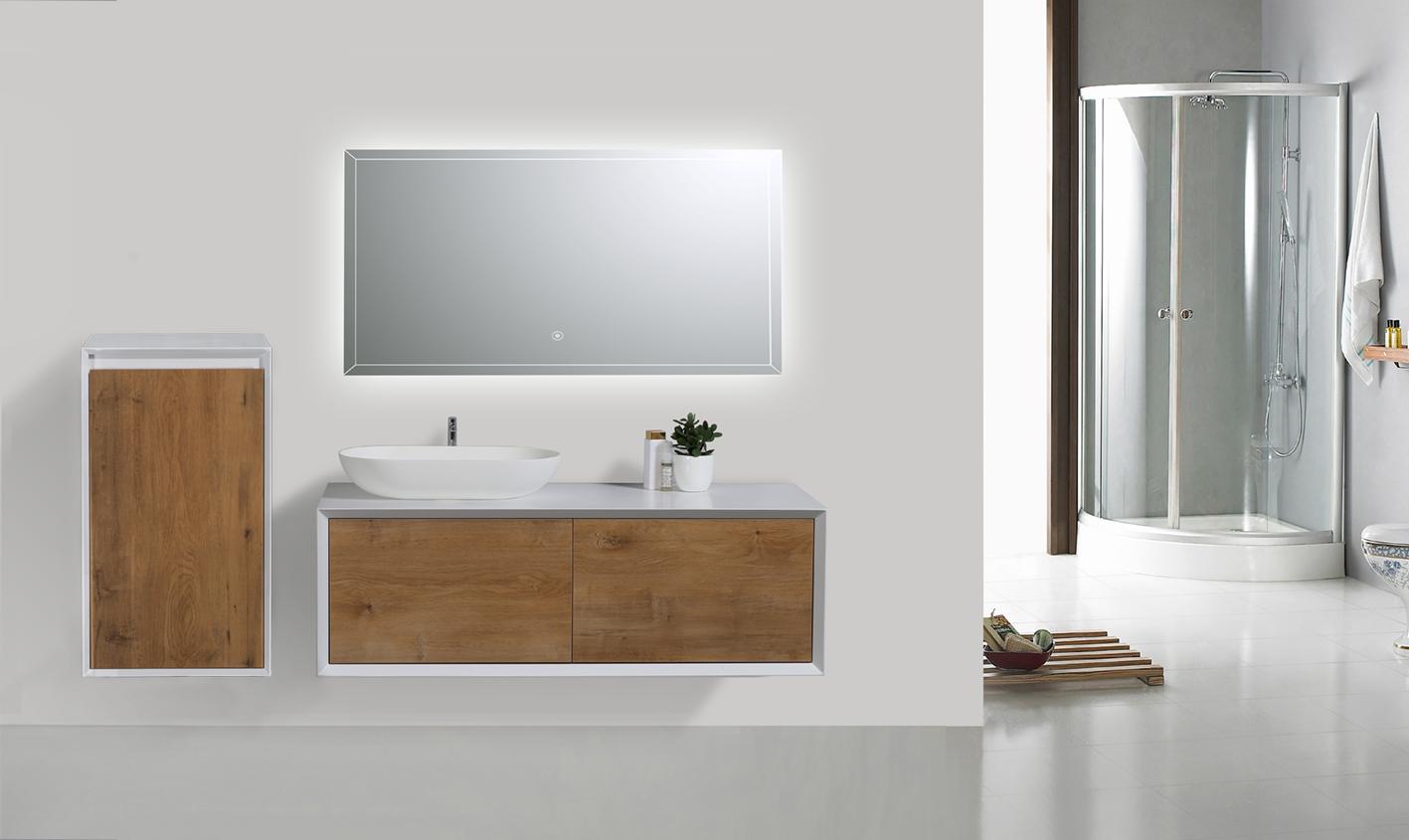 Meuble Pour Vasque Avec Colonne meuble de salle de bain fiona 1200 - façade effet béton ou